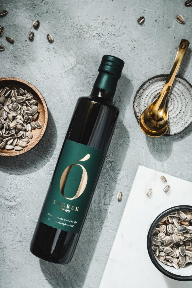 Black glass bottle with pumpkin seed oil from Oljarna Kocbek